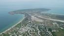 Щелкино, Крым, вид на мыс Казантип, курортный поселок, видео с высоты птичьего полета.
