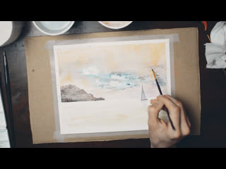 A little boat in the sea | watercolor