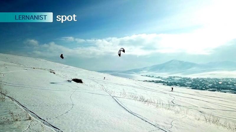 Snowkiting In Armenia HD