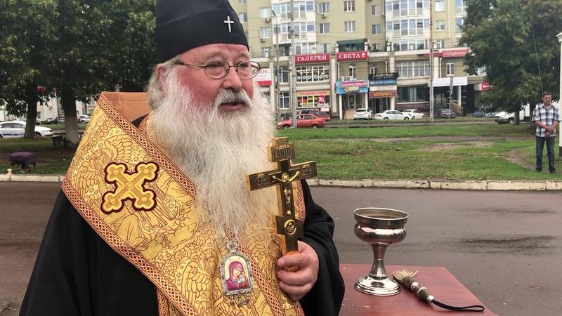 Владыка Тихон освятил крест на строящейся часовне Свято Успенского монастыря