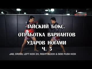 ТАЙСКИЙ БОКС. ОТРАБОТКА ВАРИАНТОВ УДАРОВ НОГАМИ Ч.3