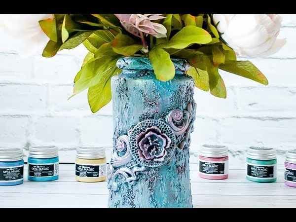 Altered Jar with Opal Magic Paints - tutorial by Ola Khomenok