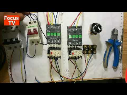 How to control wiring and power wring of three phase motor with selector switch