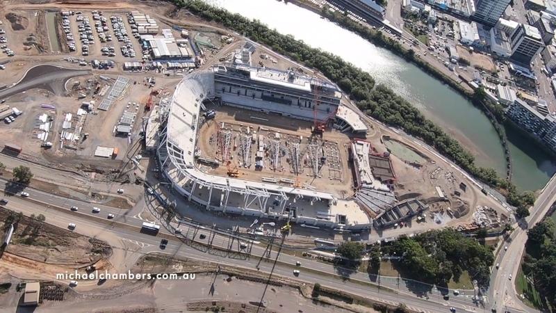 Строительство нового стадиона в г Таунсвилл Австралия North Queensland Stadium