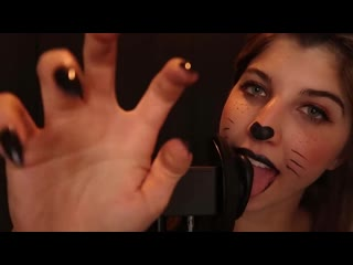 Black kitty ear licking for tingles relaxation | asmr 18+
