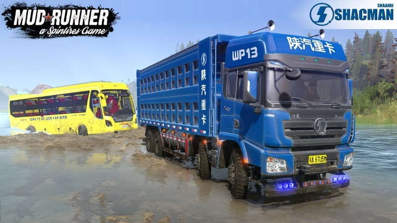 Spintires: MudRunner - SHAANXI DUMP TRUCK Tows a Bus Across The River