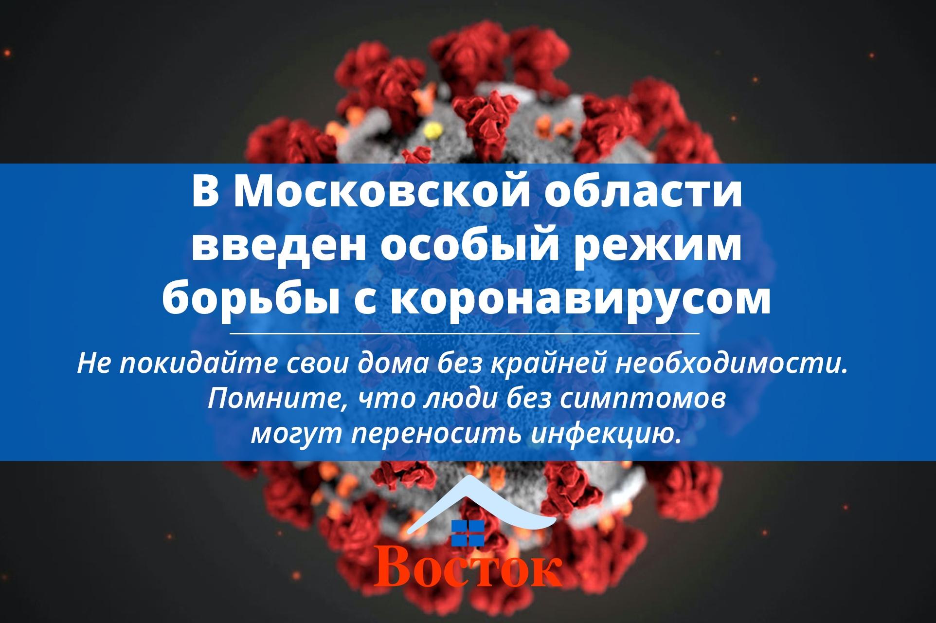 В Московской области введен особый режим борьбы с коронавирусом