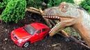 Мультики про машинки. Динозавр напал Джип, Такси, Грузовик и Гоночную машинку