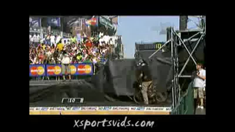 Dave Mirra's 360 No Hander Backflip Crash Dew Tour 2007