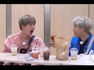 Seokjin really held his mouth open widely and waited for namjoon to feed him
