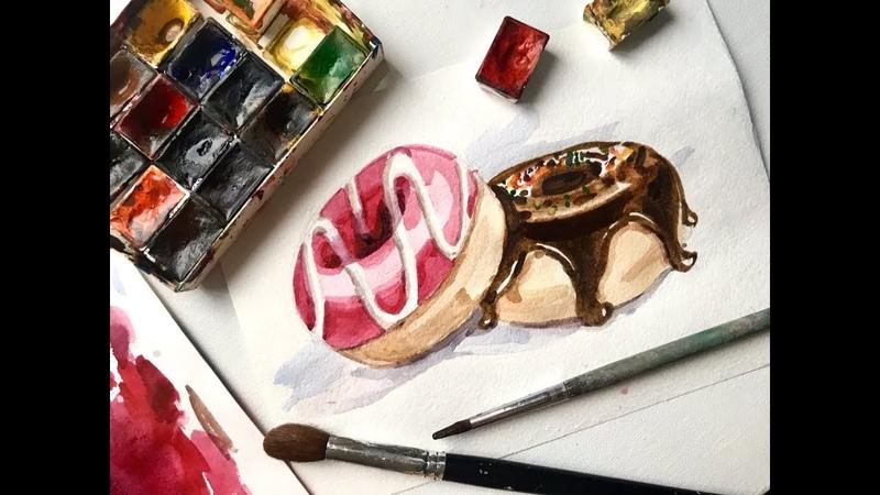 Рисуем пончики акварелью