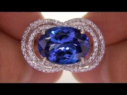 Rare Genuine D Block Tanzanite Diamond Cocktail Ring Will Be Sold To The High Bidder AAA