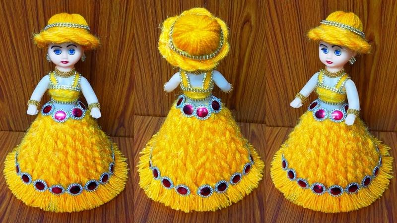ऊन से गुड़िया सजाने का आसान तरीका DIY DOLL DECORATION OON KI GUDIYAWOOLEN DOLL DECOR