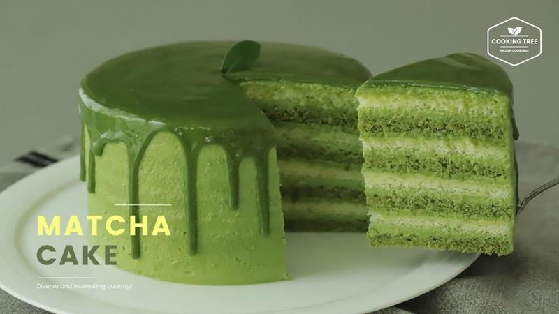 8 Layers! 녹차 케이크 만들기 : Green tea(Matcha) Cake Recipe : 抹茶ケーキ | Cooking tree