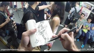 Sketching in Subway. Hong Kong MTR