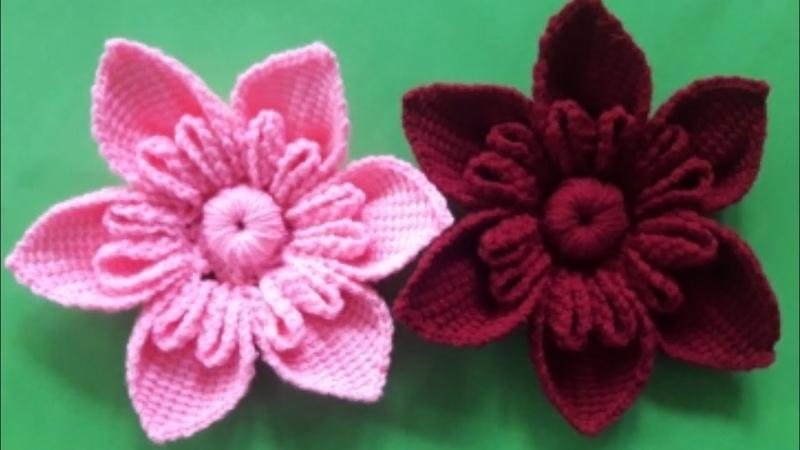 ถักดอกไม้ไหมพรมถักโครเชต์ดอกไม้crochetflowerงบไ
