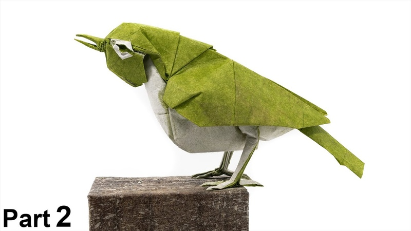 Origami Japanese White-eye tutorial 4K (Satoshi Kamiya) part 2 折り紙 メジロ Mejiro bird