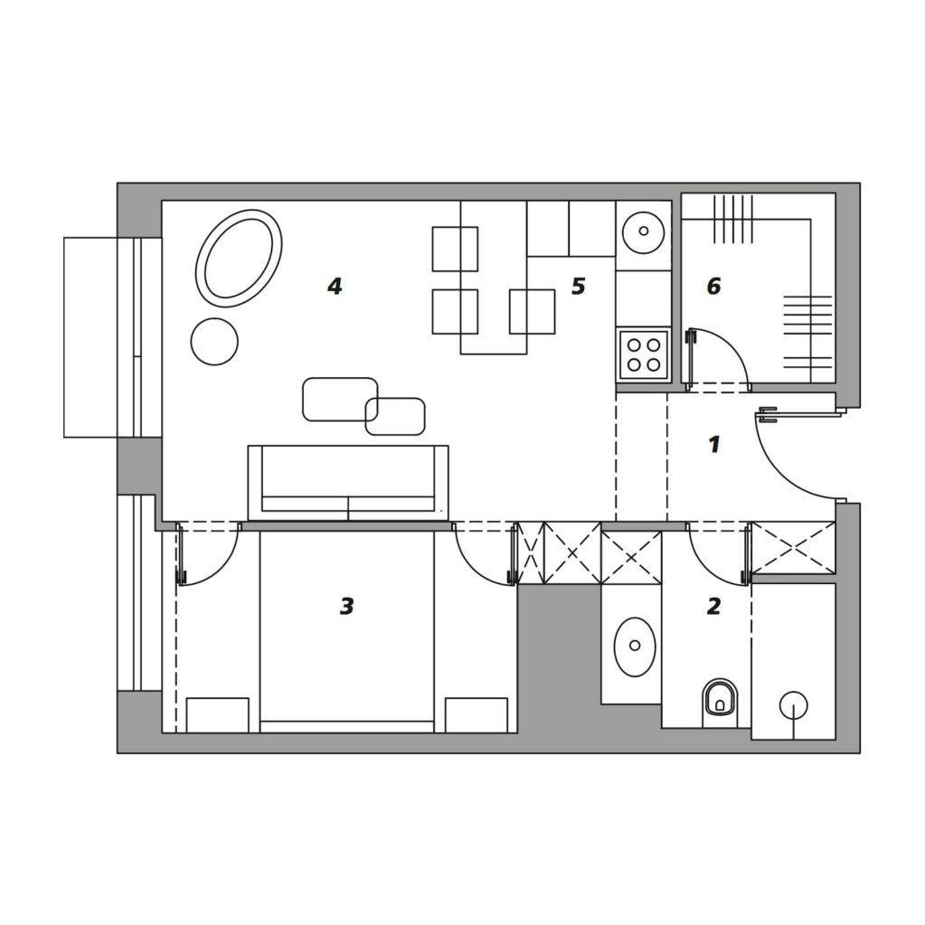 Стильная квартира площадью 42м2