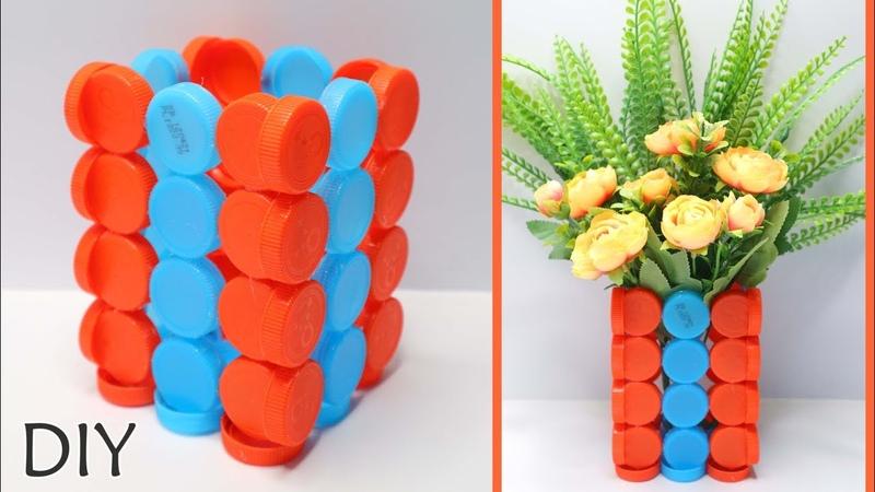 Vas Bunga Dari TUTUP BOTOL BEKAS ! How to Make Bottle cups craft ideas !