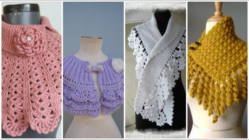 Trendy crochet knitted charm lace caplet cowl scarf design for ladies winter collection