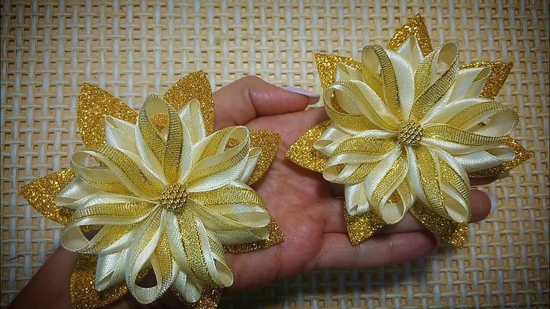 Нарядные осенние бантики Kanzashi Канзаши satijnen lint decoratie サテンリボンの花 Flower of satin ribbon