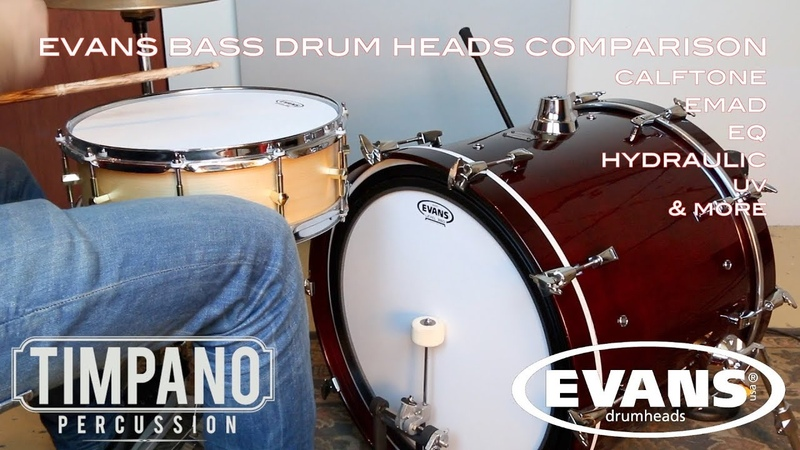 МУЗИМПОРТ Сравнение пластиков Evans для бас барабана G1 G2 EMAD HYDRAULIC ONYX CALFTONE EQ GB HEAVYWEIGHT COATED CLEAR