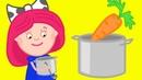 Smarta und ihre magische Tasche. Wir kochen Gemüsesuppe. Zeichentrick auf Deutsch.