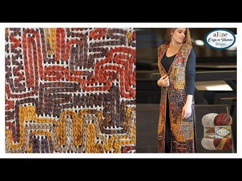 Zincir işi Uzun Yelek Yapımı - Chain Work Vest w Alize Burcum Batik