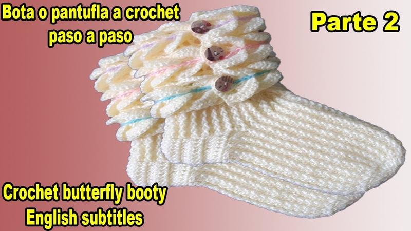 Pantuflas a crochet punto mariposa 3D todas las tallas botas zapatos Parte 2