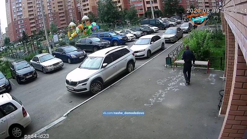 В Домодедово зарубили лифтера у подъезда. Полное видео