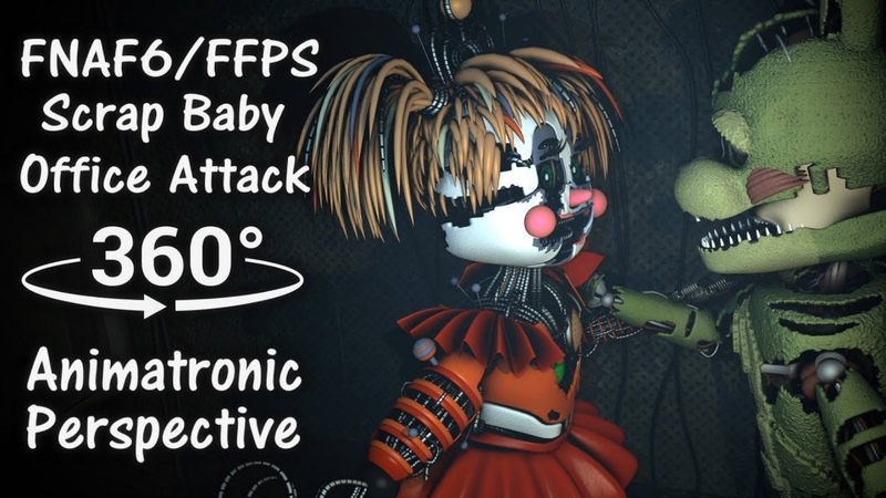 360° FNAF6 Scrap Baby Office Jump Scare Animatronic Perspective 4K UltraHD FNAF VR Compatible