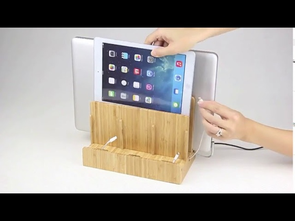 Eco Bamboo Multi Device Charging Station Dock Organizer