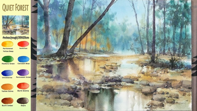 Without Sketch Landscape Watercolor Quiet Forest color mixing Arches rough NAMIL ART