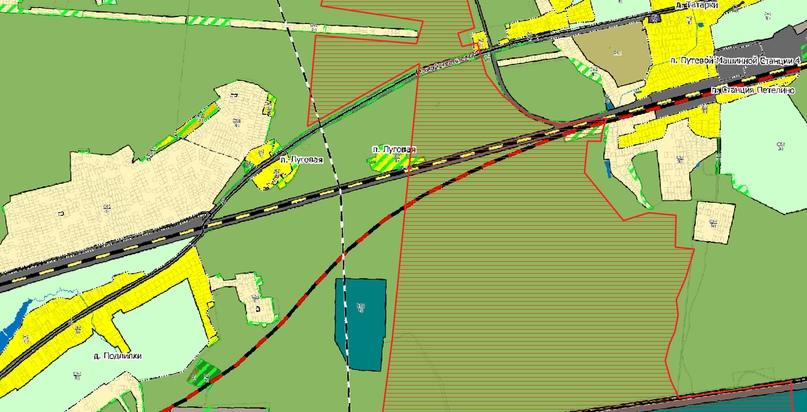Вероятнее всего, здесь мы видим планируемую железную дорогу через ООПТ «Гарь-Покровский» (заштрихована красным): пересекает его с самого начала. Длина пересечения полтора километра. Неизвестно, рассматривались ли иные варианты, но нам представляется возможным проложить это ответвление западнее на 10-12 км, что позволило бы и сократить расходы на строительство, если оно так необходимо. Зелёная штриховка — наложения данных лесного реестра и кадастра.