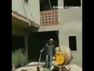 Еще один способ использования бетономешалки - Проект  Дача