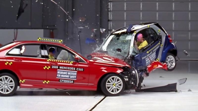 IIHS Crash Test Mercedes Benz C Class vs Smart ForTwo