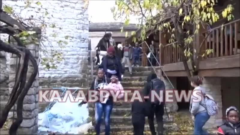 Griechenland Flüchtlinge lehnen Unterkunft im Kloster Poretsos empört ab 720p 30fps H264 192kbit AAC