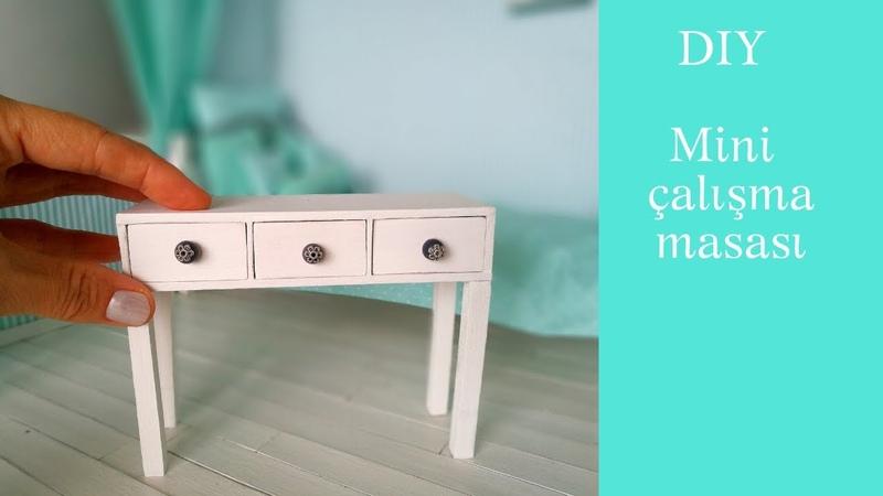 Mini çalışma masası yapımı DIY Barbie mobilya Jak zrobić biurko dla lalki Dollhouse Desk