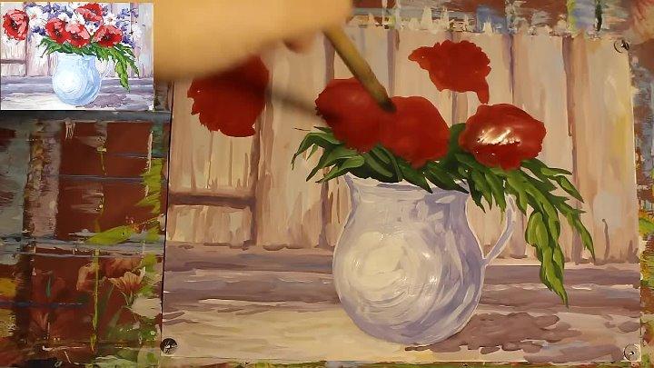 Как нарисовать натюрморт гуашью Рисуем полевые цветы в кувшине