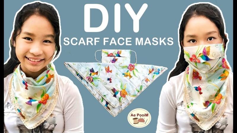 DIY SCARF FACE MASKS วิธีทำหน้ากากผ้าพันคอแบบ 2 in 1