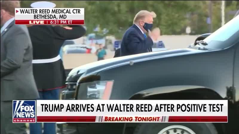 Дональда Трампа доставили из Белого дома в военный госпиталь