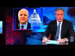 Lets go to war!!! Jon Stewart's John McCain impression during the Ukraine situation