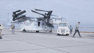 Japan Ground Self-Defense Force (JGSDF) V-22 Ospreys arrive at MCAS Iwakuni (B-Roll)