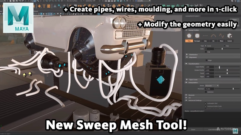 Maya 2022 New Sweep Mesh from Curve Tool