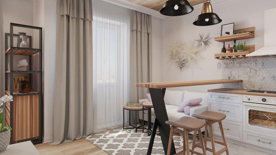 Проект квартиры 42,4 м (с балконом – 44,6 м).