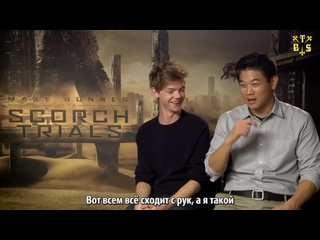 "[TBSubs] Интервью ""Get Into Film"" с кастом ""The Scorch Trials"" (Томас, Ки Хон, Дилан, Кая) (рус.саб)"