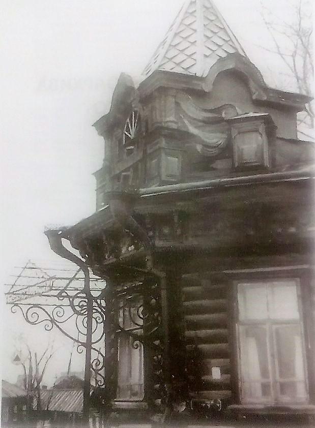 Дом Лаженицына. Башенка парадного входа. 1960 г.
