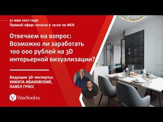 Отвечаем на вопрос: Возможно ли заработать 100 000 рублей на 3D интерьерной визуализации?