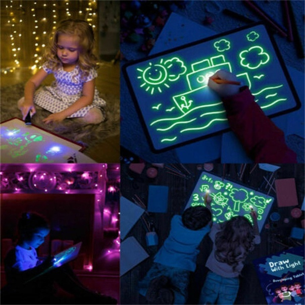 Волшебная светящаяся доска для рисования Daw светильник кой, веселая доска для рисования, флуоресцентная ручка, русская английская подсветка, игрушки для детей