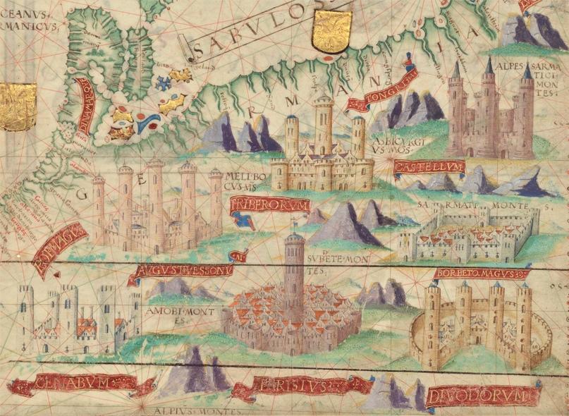 Европа. Фрагмент карты из Атласа Миллера (1519)